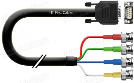 Фото1 1K-IV16-.. Кабель видео 4-канальный для CCTV, 75 Ом, D-Sub 9-пин (двухрядный) штекер > 4х BNC штекер