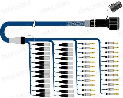 Фото1 1K-PS48/0TXJ-.. 48-кан.(48-IN) туровый аудиомультикорный кабель, Tourline 150-пин гнездо > коса (24x