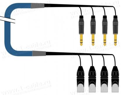 Фото1 1K-PS4JXIN-1.. 4-кан. туровый инсертный аудиокабель, коса (4x XLR3 штекер) > коса (4х Jack 6.3 мм ст