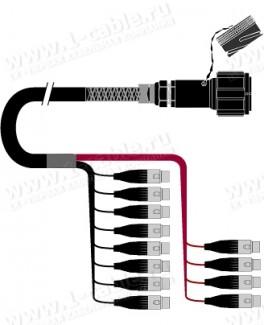 Фото1 1K-PW0/12TX-..MF 12-кан.(12-OUT) студийный аудиомультикорный кабель, Tourline 37-пин штекер > коса (