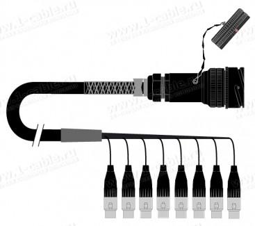 Фото1 1K-PW0/8TX-.. 8-кан.(8-OUT) студийный балансный аудиомультикорный кабель, Tourline 25-пин штекер > к