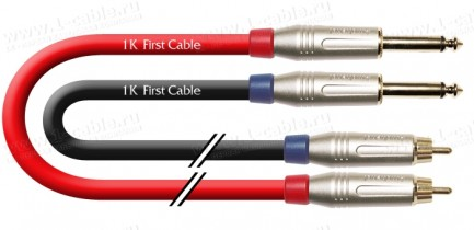 Фото1 1K-A5-1.. Кабель звук стерео, Basic, 2x RCA штекер > 2x Jack 6.3 mono штекер