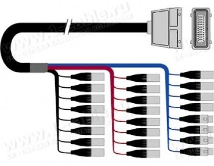 Фото1 1K-PW20/4HX-.. 24-кан.(20-IN/4-OUT) студийный балансный аудиомультикорный кабель, Harting 72-пин гне