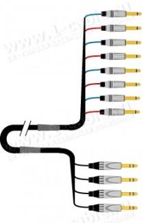 Фото1 1K-PW4YIN-1. 4-кан. студийный Y-образный инсертный аудиокабель, коса (4х Jack 6.3мм стерео штекер) >