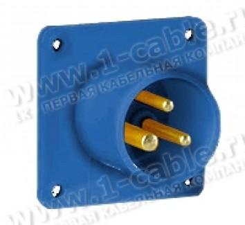Фото1 AC-06..6 Встраиваемый приборный штекер CEE-типа, прямой ввод, IP44, квадр.фланец с 4 отверстиями (70