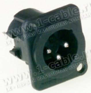 Фото1 AC3MDPV.. XLR 3 штекер на панель в плату, вертикальный, фланец D-типа, термопластик