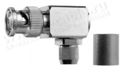 Фото1 J01000A006. Разъём BNC кабельный, штекер усиленный, угловой, обжим, ц.контакт- пайка, 50 Ом