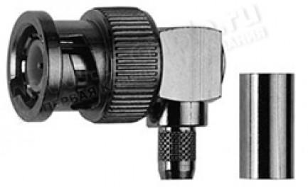 Фото1 J01000A12.. Разъём BNC кабельный, штекер, угловой, обжим, ц.контакт- пайка, 50 Ом