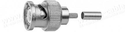 Фото1 J01002.. Разъём BNC кабельный, штекер, обжим, 75 Ом
