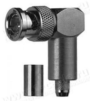 Фото1 J01002A1.. Разъём BNC кабельный, штекер удлиненный, угловой, обжим, 75 Ом