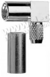 Фото1 J01161A0.. Разъём SMB кабельный угловой, гнездо, обжим, ц.контакт- пайка, 50 Ом