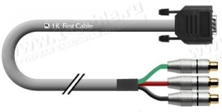 Фото1 1K-VGA9-.. Кабель видео компонентный RGB, Basic T, 75 Ом, D-Sub 15-пин штекер > 3х RCA гнездо