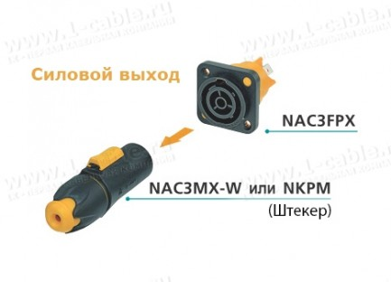 Фото3 NAC3FPX.. Панельный разъем водонепроницаемый, серия powerCON TRUE1, выход (гнездо)