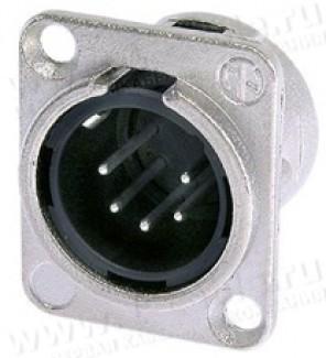 Фото1 NC5MD-L-.. XLR 5 штекер на панель, фланец D-типа, под пайку