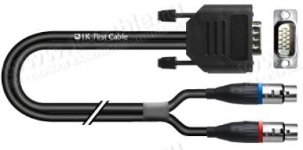 Фото1 1K-AIB77-.. Кабель инструментальный, Basic, D-Sub 15 pin штекер (3-рядный) > 2x XLR3 гнездо