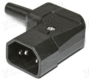 Фото1 AC-101R2 - Штекер кабельный приборный 220 В, угловой, 3 контакта, IEC320 С14