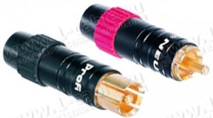 Фото1 NF2C-B/2 - Разъем RCA, штекер профессиональный, пайка, земля перед сигналом, на кабель диам. 4.0-7.5