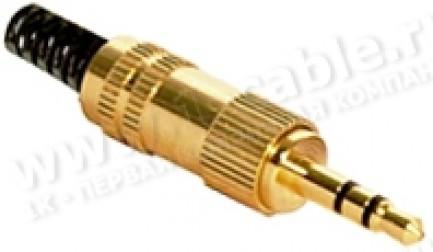 Фото1 AC-16-G Jack 3.5мм штекер стерео, позолоченные контакты, металлический корпус с пластиковой пружиной
