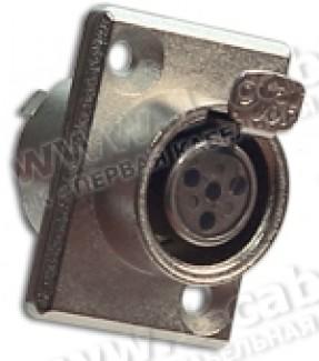 Фото1 92M-507(4P) gold - Разъем miniXLR 4-контактный, панельный фланец 2-отв., гнездо