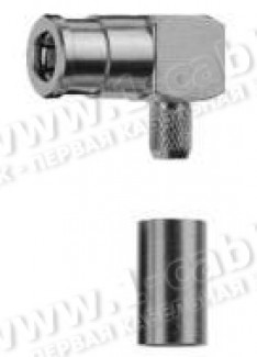 Фото1 J01161A0681 - Разъём SMB кабельный угловой, гнездо, обжим, ц.контакт- пайка, 50 Ом