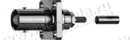 Фото1 J01001B0041 - Разъём BNC панельный, гнездо, компактный, обжим, муфта,  50 Ом