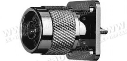 Фото1 J01020A0032 - Разъём N панельный, штекер, пайка, квадратный фланец, 4 отверстия, 50 Ом