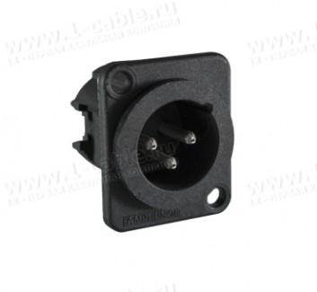 Фото1 AC3MDPL BULK - XLR 3 штекер на панель, фланец D-типа, термопластик, пайка