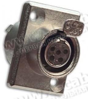 Фото1 92M-507(5P) gold - Разъем miniXLR 5-контактный, панельный фланец 2-отв., гнездо