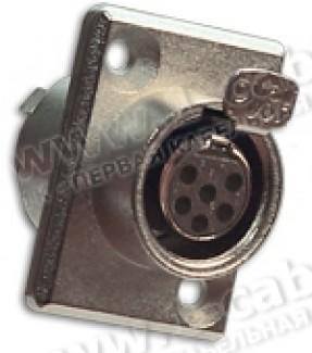 Фото1 92M-507(6P) gold - Разъем miniXLR 6-контактный, панельный фланец 2-отв., гнездо