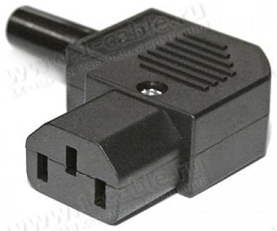 Фото1 AC-102R2 - Гнездо кабельное приборное 220В, угловое, 3 контакта, IEC320 С13