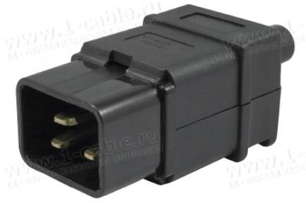 Фото1 ACP-320C20 - Штекер кабельный приборный 220B, 3 контакта, IEC 60320 C20