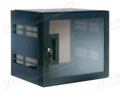 """Фото1 RW-19-00. Рэк 19"""", передняя и задняя перфорации c дверью из тонированного оргстекла в стальной раме"""