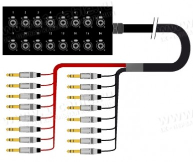 Фото1 1K-SBPW16/0JB-.. 16-кан.(16-IN) студийная мультикорная система Stage Box (16х Combo Jack6.3 гнездо)