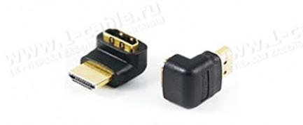 Фото1 HDMI2HDMI-A-FM - Адаптер проходной угловой, HDMI гнездо > HDMI штекер