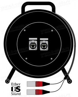 Фото1 1K-E2/0X-0.0 InterCON кабельная система на катушке, барабан 2x Ethernet 5E RJ-45 гнездо > 2x Etherne