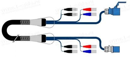 Фото1 1K-2E/2DA0-2/PCEE16/XX-.. Комбинированный мультикорный студийный кабель, 2x RJ-45 шт, 2x XLR3 гн, CE