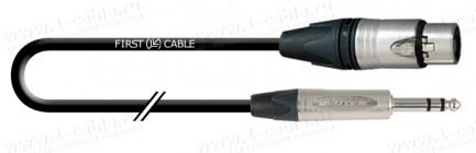 Фото1 1K-AMCN26-.. Кабель микрофонный, Compact, XLR3 гнездо > Jack 6.3 stereo штекер (Neutrik)