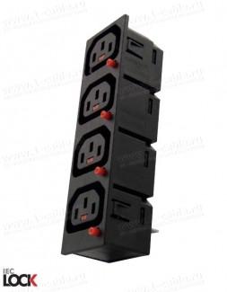 Фото1 ACP-135015BK. Блок панельных гнезд c фиксацией соединения, серия IEC Lock, 3 контакта, С13 IEC320