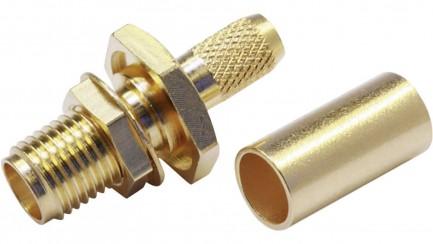 Фото2 J01151R0011 Разъём R-SMA (корпус-гнездо, ц.контакт- штекер) кабельный/панельный, обжим, 50 Ом